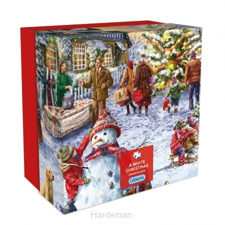 Puzzel A white Christmas - Gift box (500